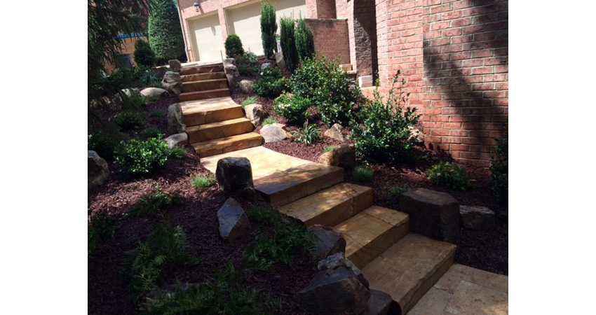Stairs and walkway installed in Mooresville, NC to provide a walkway to the pool area