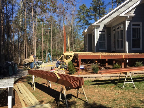 Deck and pergola being built as phase 2