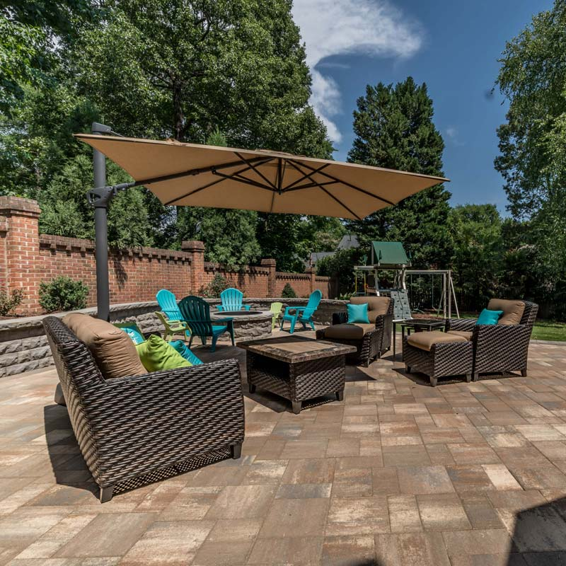 Seating area on a patio built by Benton Outdoor Living in Charlotte NC