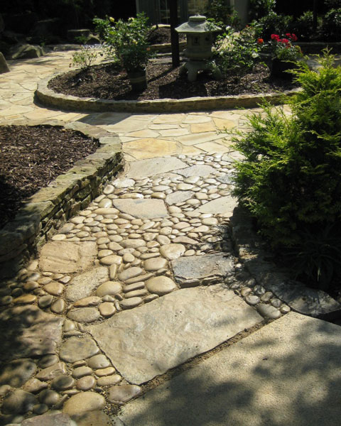rock walkway hardscape with border wall