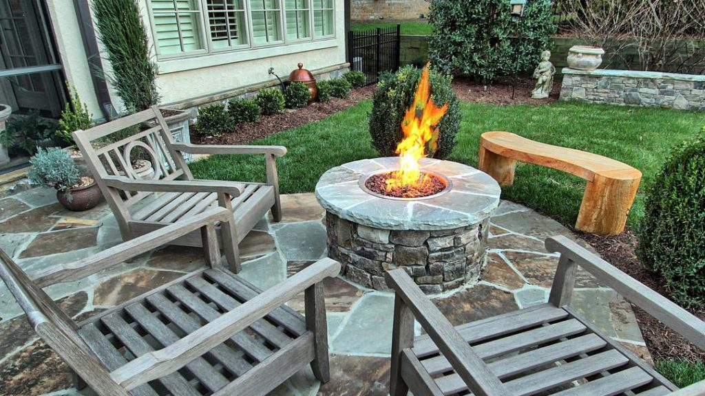 Fire Feature installed as part of Backyard Landscaping Plan by Benton Outdoor Living