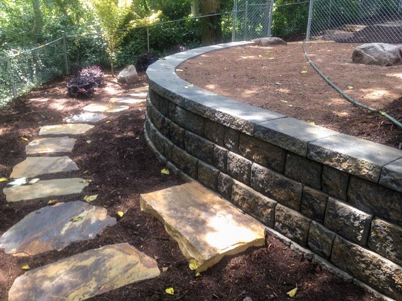 Backyard stepping stone walkway in Charlotte area
