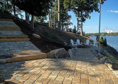 Paver walk to lakeside patio LW