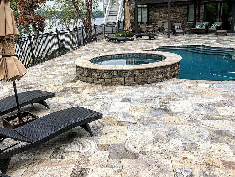 Tega Cay Pool Deck hardscape using Paver Patios by Benton Outdoor Living