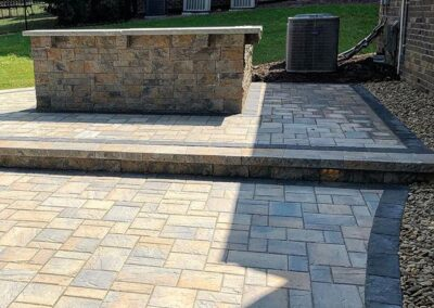 Patio and bar area in a palisades backyard in Steele Creek, Charlotte.