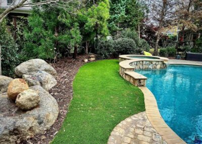 Artificial Turf installed along the side of a pool in Waxhaw, NC