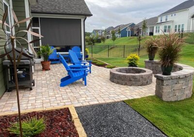 Lake Wylie Patio, fire pit, seating wall, walkway and landscaping