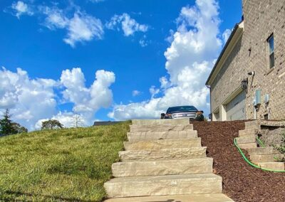 Stone Steps installed outside this Weddington, NC home by Benton Outdoor Living